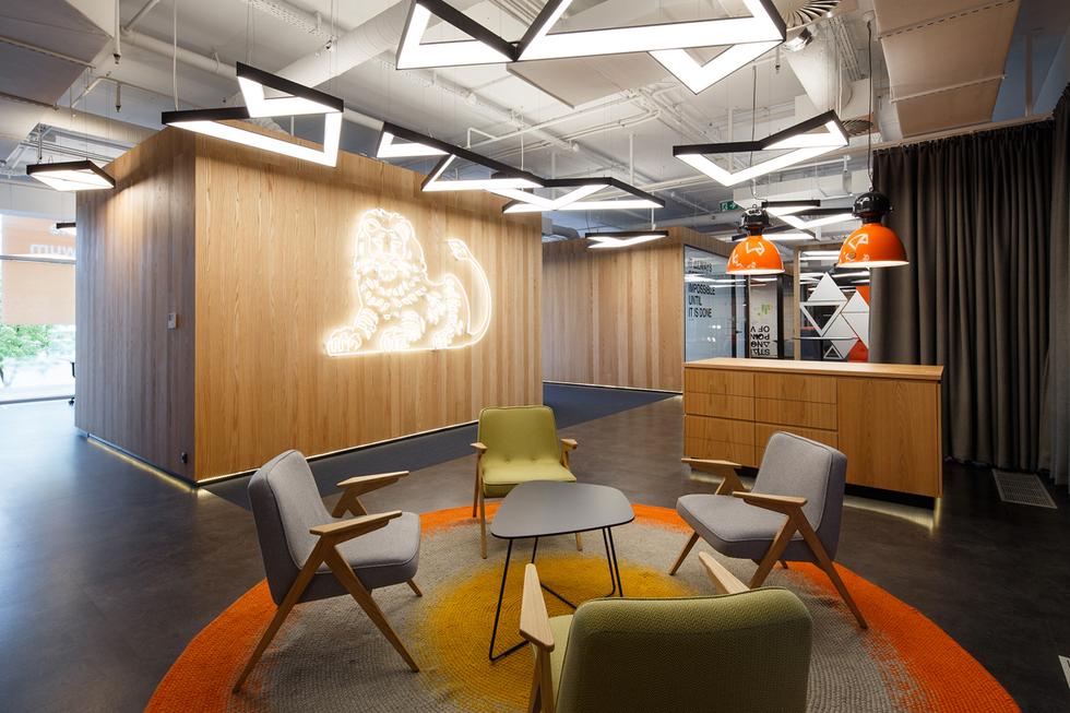 Przestrzeń startupów w centrali banku ING w Katowicach, autorzy: Eksner Industry