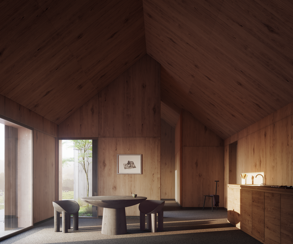 Duality Cube Haus by Faye Toogood dark timber interior for galvanised steel interior_Visualisation by Edit.rs (Copy)