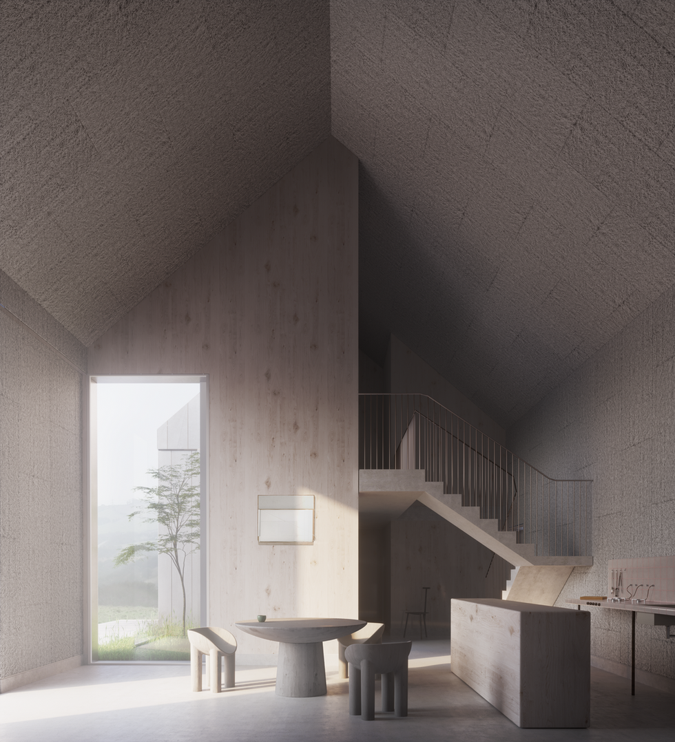 Faye Toogood Duality Cube Haus option  1 light timber interior _ charred wood exterior_visualisation by Edit.rs (Copy)