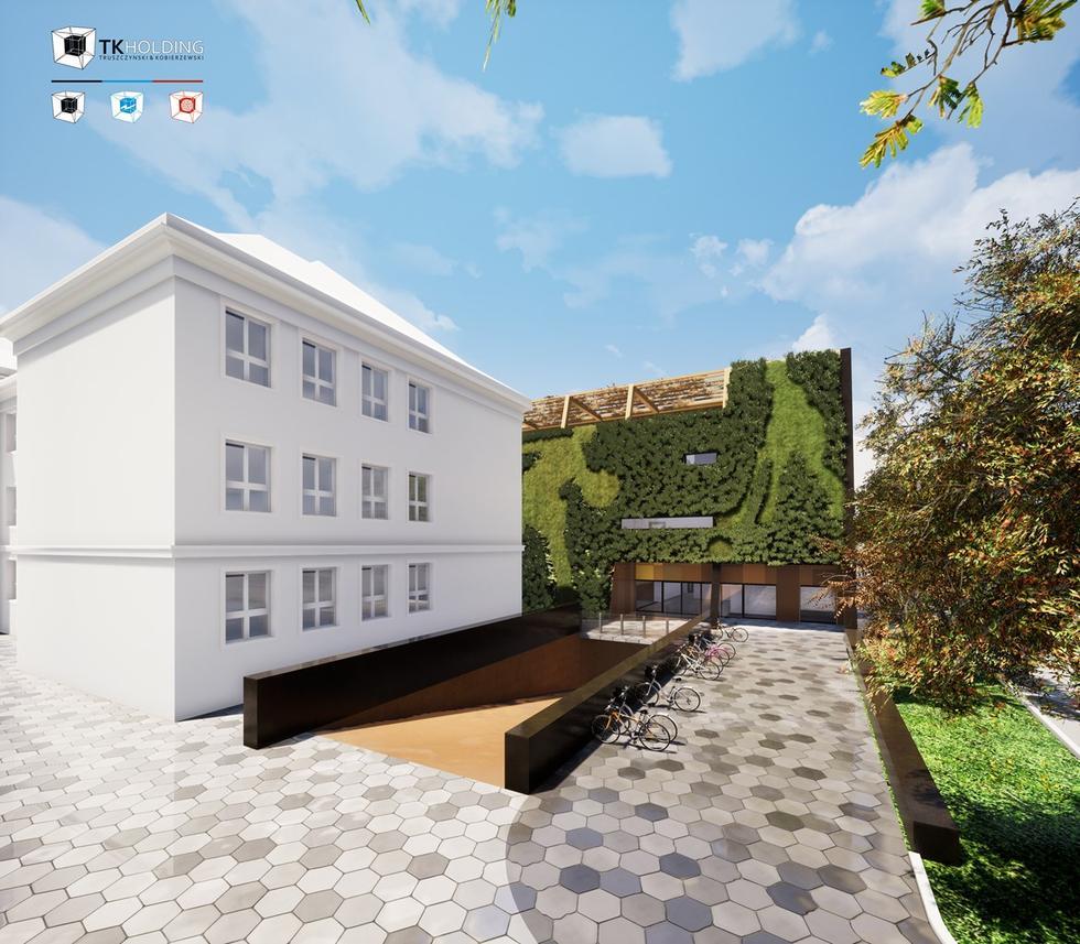 Hala sportowa jak miejski ogród – przyszkolny zespół według pracowni DreamWorlds z Mysłowic