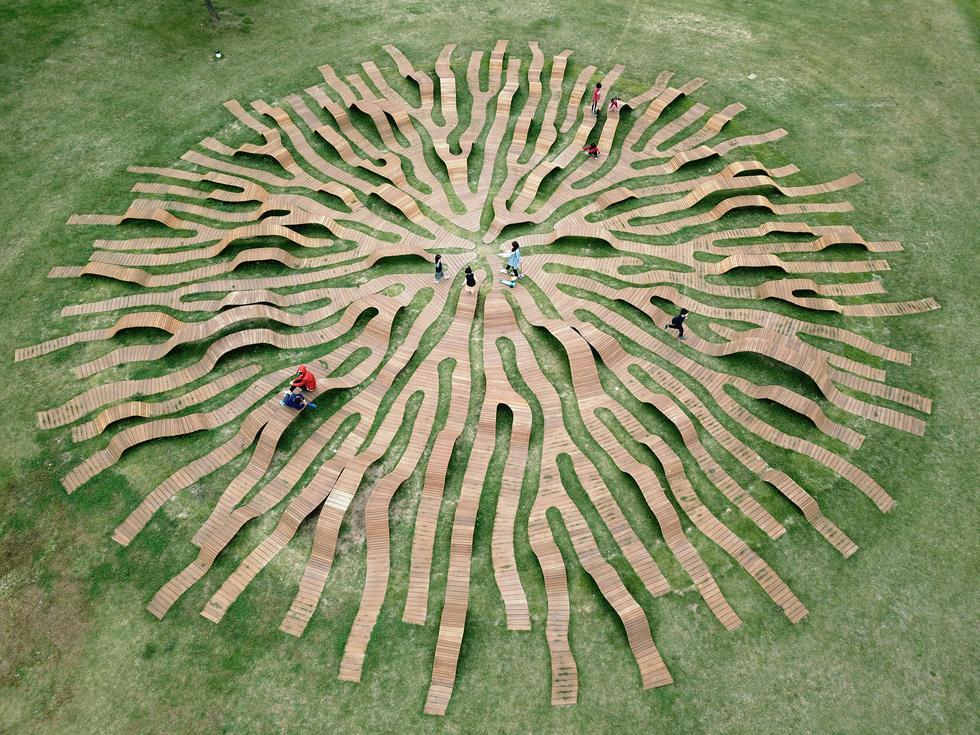 Ławka korzeń w Seulu