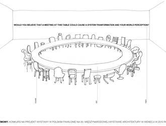 Projekt konkursowy na pawilon polski 12. Międzynarodowej Wystawy Architektury w Wenecji na temat 'People meet in architecture'