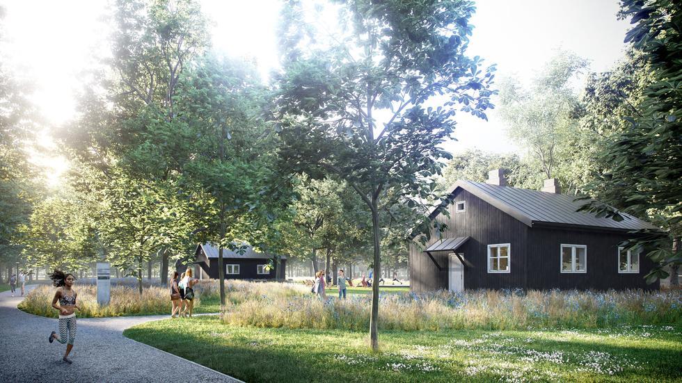 Centrum reportażu w domkach fińskich na Polu Mokotowskim