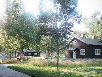 Centrum reportażu w domkach fińskich na Polu Mokotowskim od WXCA