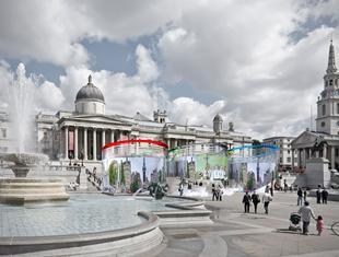 Pawilon informacyjny z okazji letnich igrzysk olimpijskich stanie na londyńskim Trafalgar Square w 2012