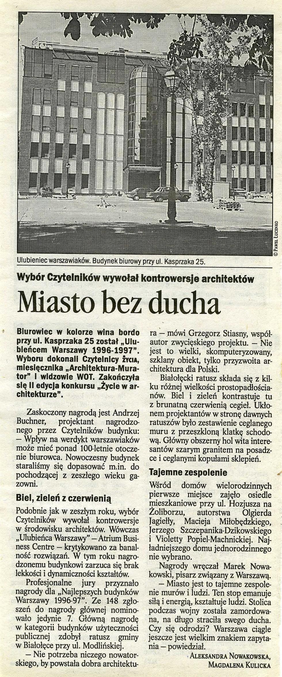 """Miasto bez ducha, """"Życie"""" nr 34, 19-20.01.1998"""