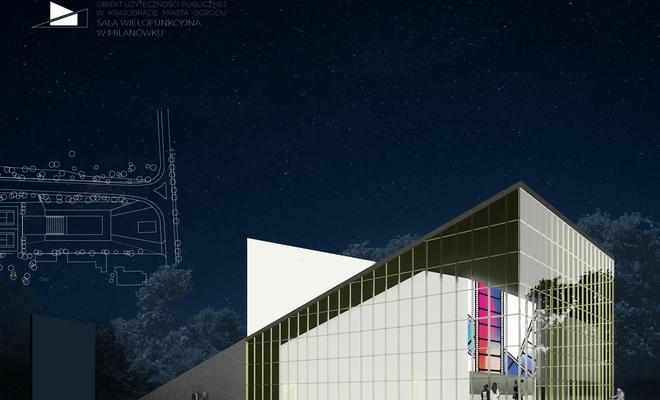 Projekt sali wielofunkcyjnej w Milanówku