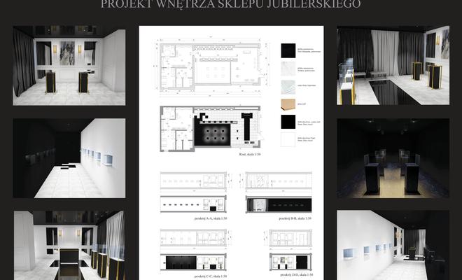 Projekt wnętrza sklepu jubilerskiego