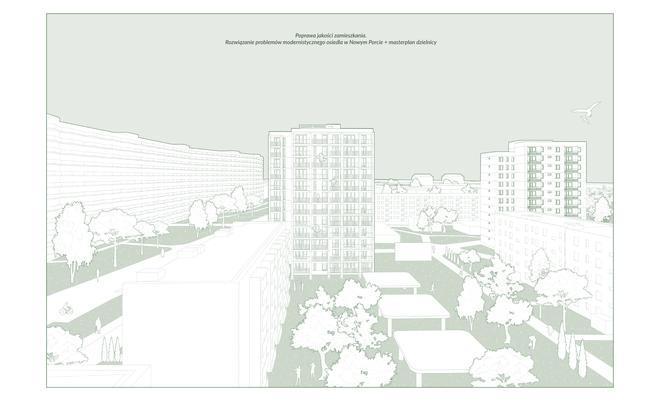 Poprawa jakości zamieszkania.  Rozwiązanie problemów modernistycznego osiedla w Nowym Porcie + masterplan dzielnicy.